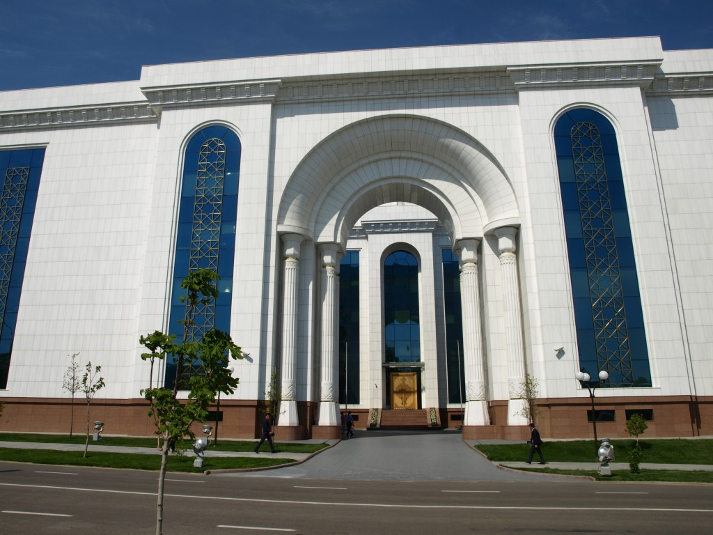 Through the arch is a courtyard with the main entrance to the National Library of Uzbekistan.  [Photo by Henry Freyer-Steyer.]
