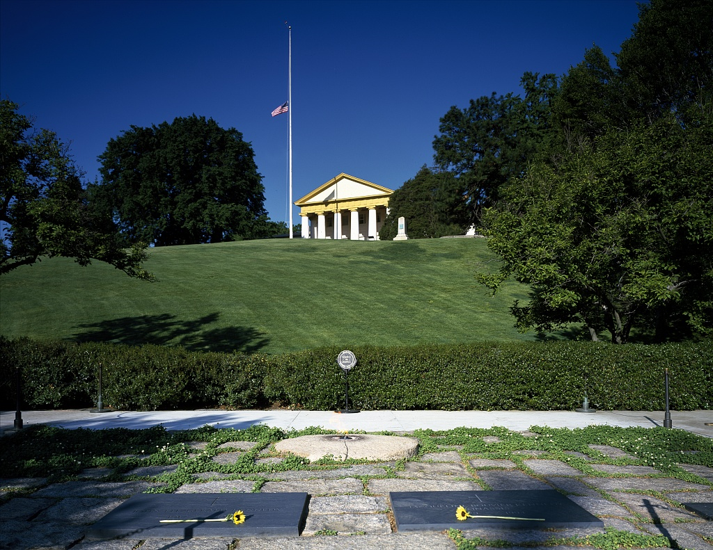 Arlington House, Robert E. Lee's former home, stands high above the Kennedy family gravesite [sic] high at Arlington National Cemetery, Arlington Virginia.  (Source:  Photographs in the Carol M. Highsmith Archive, Library of Congress, Prints and Photographs Division, http://www.loc.gov/pictures/item/2011633006/)