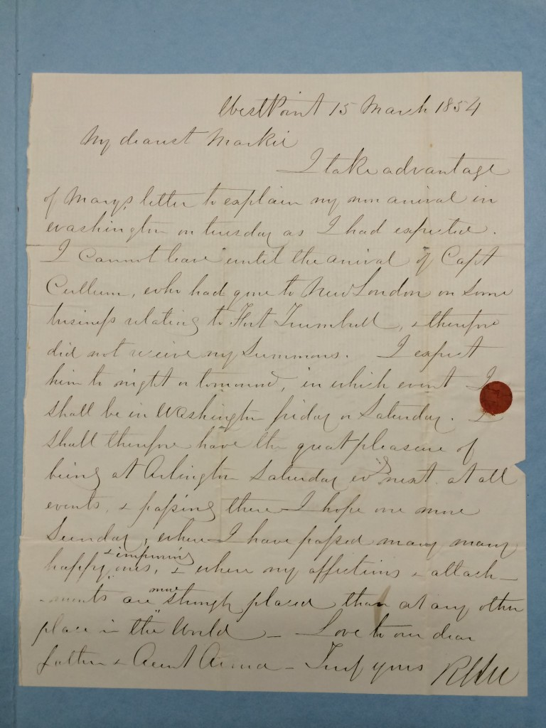 "Letter written by Robert E. Lee to Martha ""Markie"" Custis Williams on 15 March 1864. Photo by Jennifer Allan Goldman.  Source The Huntington Library, Art Collections & Botanical Gardens, San Marino, California.  Set HM 8807-8845 (Catalog record:  http://catalog.huntington.org/record=b1701791~S0)"