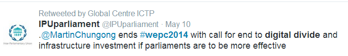 Tweet of Closing Remarks from the World e-Parliament Conference