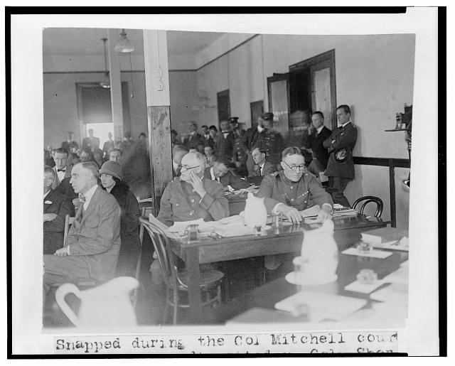 Snapped during the Col. Mitchell court martial proceedings today - Col. Sherman Moreland, judge advocate, and Lt. Col. Joseph I. McMullen, ass't. judge advocate (Oct. 28, 1925), Library of Congress Prints and Photographs Division, //hdl.loc.gov/loc.pnp/cph.3c33701