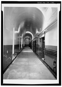 A corridor in women's wing, looking south (first floor). - Chester County Prison, 235 West Market Street, West Chester, Chester County, PA (photo by Ned Goode, September 1960) (Library of Congress Prints and Photographs Division, http://hdl.loc.gov/loc.pnp/hhh.pa0327/photos.132386p).