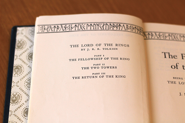 Obverse of title page for The Fellowship of the Ring / photograph taken by Donna Sokol