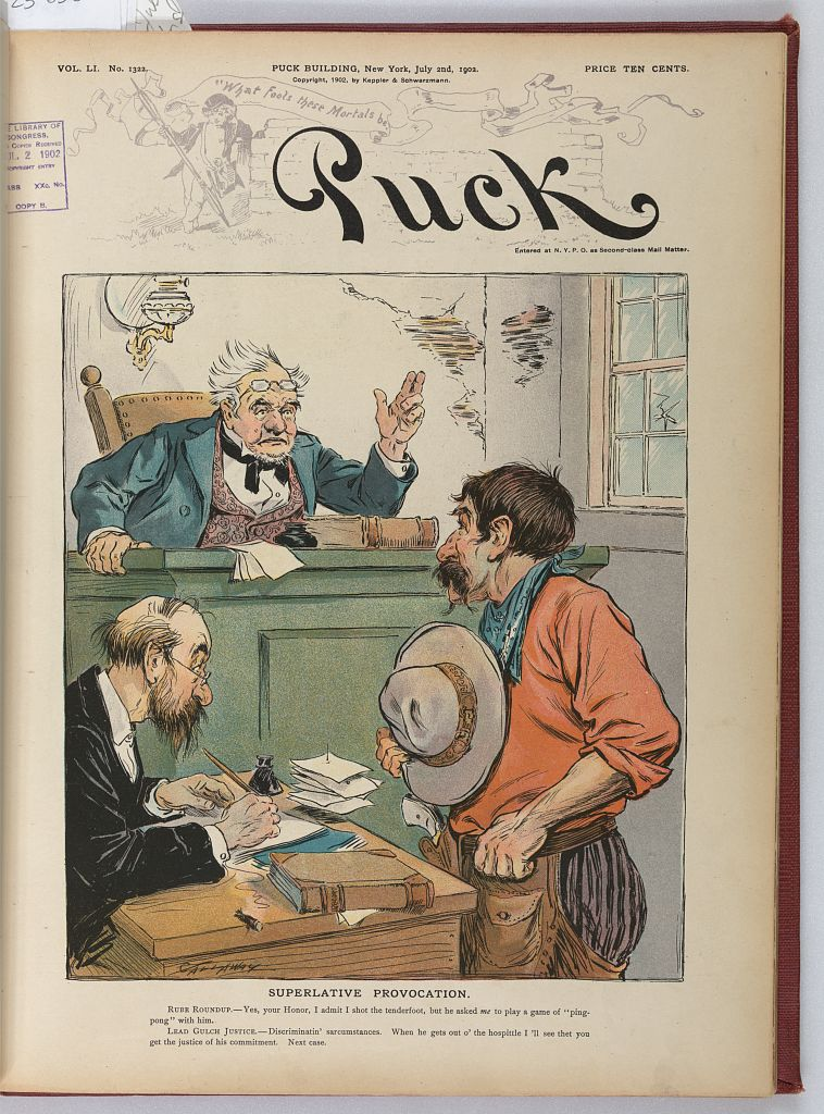 Illustration shows a country courtroom scene with a judge pronouncing a verdict based on testimony of the cowboy standing in front of the clerk's desk. Print by J. Ottmann Lith. Co. (July 2, 1902). Library of Congress Prints and Photographs Division, http://hdl.loc.gov/loc.pnp/ppmsca.25649 .