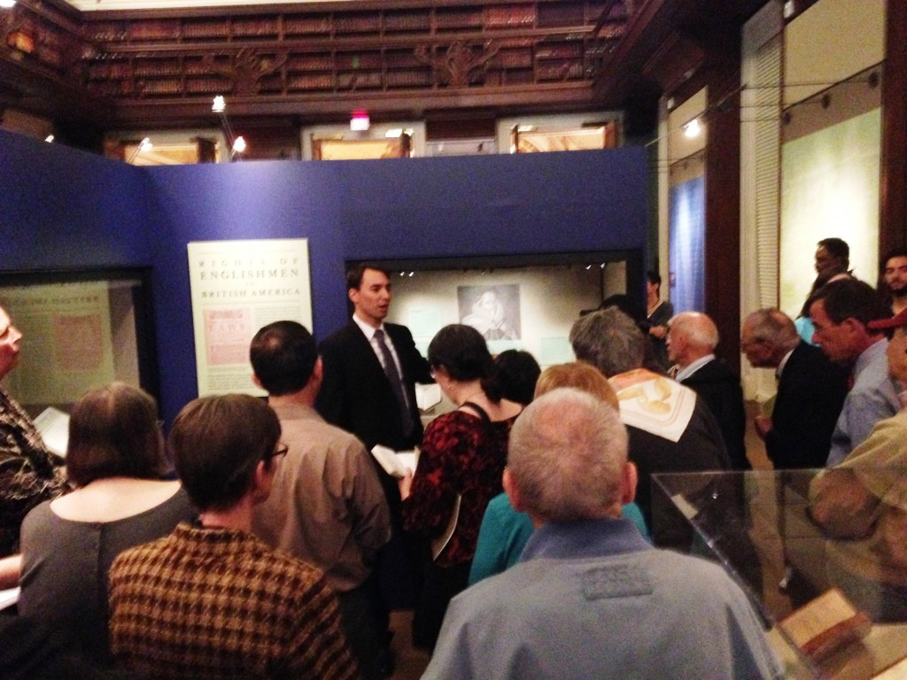Nathan Dorn, curator of the Magna Carta: Muse and Mentor exhibition, gives a gallery talk that highlighted key items from the exhibition on November 12, 2014.