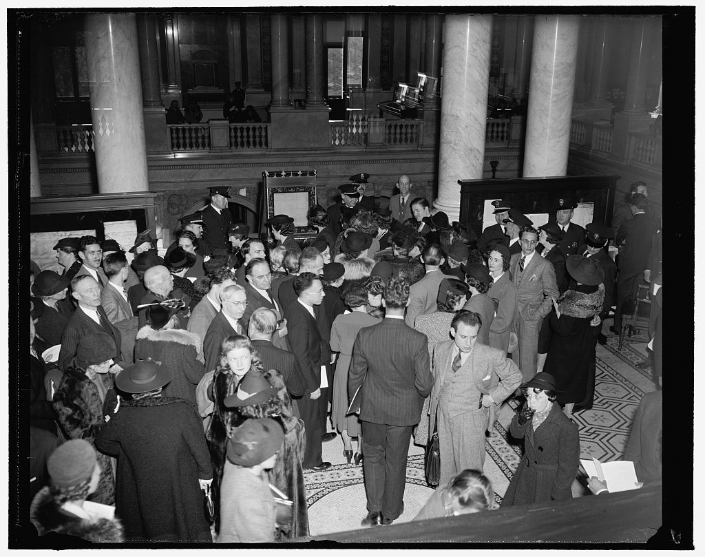 Public views Magna Carta after deposited in Congressional Library. Washington, D.C., Nov. 28. Shortly after the historical Magna Carta was placed in the Congressional Library for safekeeping by British Ambassador Lord Lothian today the public was allowed to view it under the watchful eyes of library guards. Harris & Ewing, photographer. November 28, 1939. Library of Congress Prints and Photographs Division. [//hdl.loc.gov/loc.pnp/hec.27725]