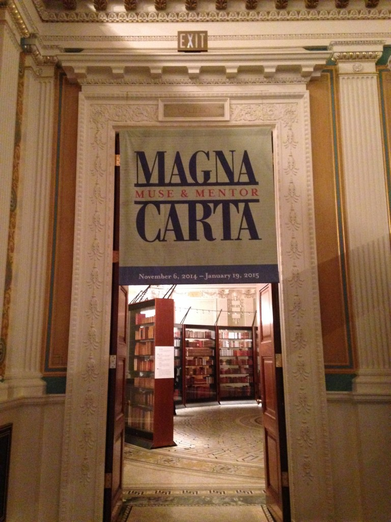One of several Magna Carta: Muse and Mentor banners displayed in the Thomas Jefferson Building.