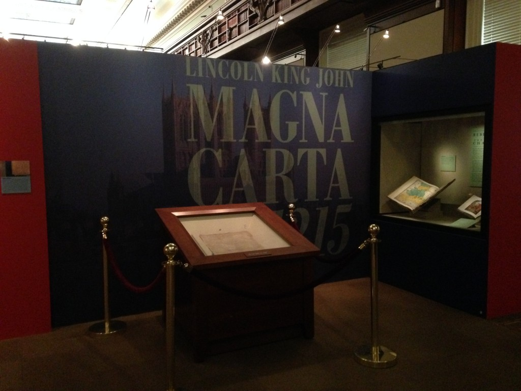 Inside the South Gallery: the 1215 Lincoln Cathedral Magna Carta display.