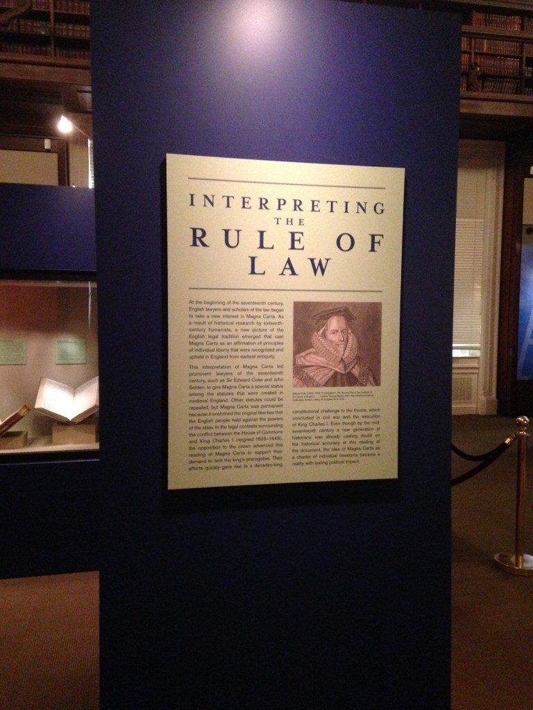 "Inside the Gallery: Magna Carta: Muse and Mentor Exhibition ""Rule of Law"" Banner."
