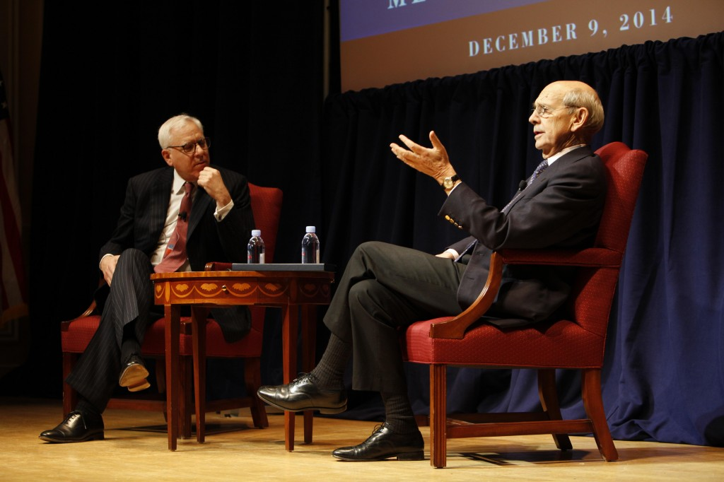 (From left to right: David Rubenstein, Philanthropist and Co-CEO of The Carlyle Group interviews Associate Justice of the United States Stephen G. Breyer at the Library of Congress symposium, Conversations on the Enduring Legacy of the Great Charter, on December 9, 2014. Photo Source: