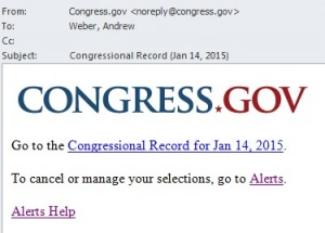 Congress.gov Congressional Record Email Alert