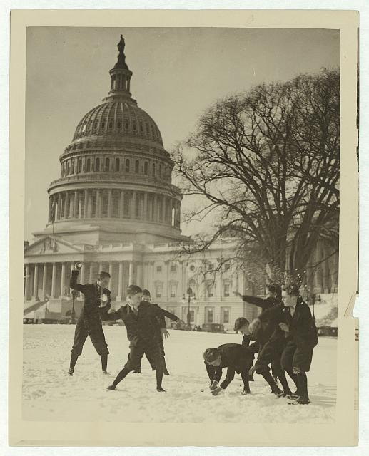Senate page boys stage their first snow battle on the Capitol plaza. between 1909 and 1932. Library of Congress Prints and Photographs Division, http://hdl.loc.gov/loc.pnp/ppmsca.09408.