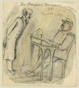 The Passport Bureau. Drawing by Bayard Taylor. (Created between 1856 and 1857). Library of Congress Prints and Photographs Division, //hdl.loc.gov/loc.pnp/ppmsca.22863