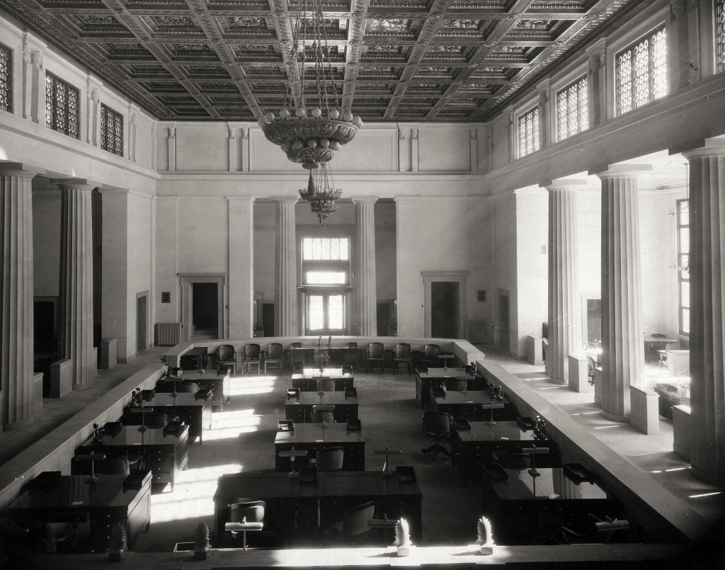 Photo  from 1921 provided to the Virginia State Law Library by the Federal Reserve Bank of Richmond. This room is now the courtroom of the Supreme Court of Virginia, before it was renovated.  The ornate ceiling, now hidden by the false ceiling described in the interview, is visible.