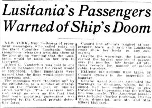 Lusitania's Passengers Warned of Ship's Doom. Detail from the Washington Times. (May 1, 1915). Chronicling America, //chroniclingamerica.loc.gov