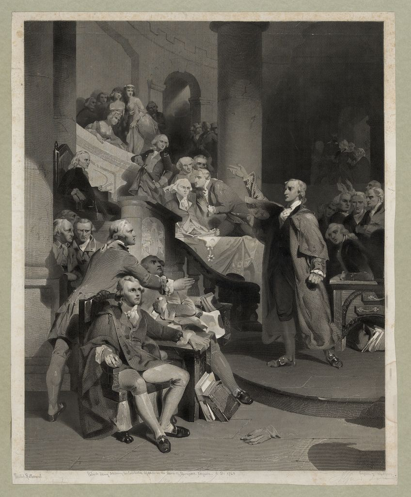 Nineteenth-century engraving by Alfred Jones after painting by Peter Frederick Rothermel depicting Patrick Henry delivering his fiery speech to the House of Burgesses on May 29, 1765. (Courtesy of the Prints and Photographs Division of the Library of Congress)