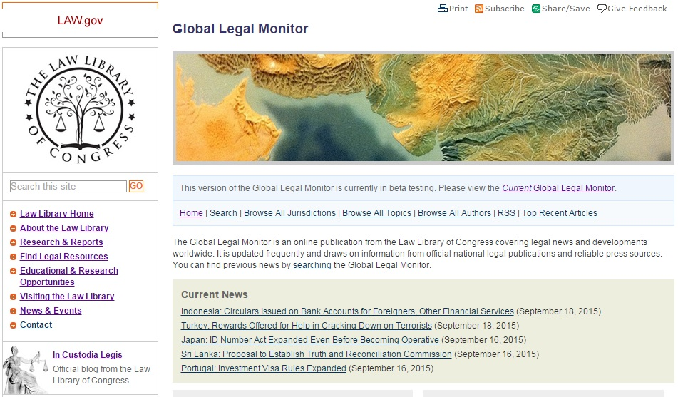 The New Global Legal Monitor Homepage
