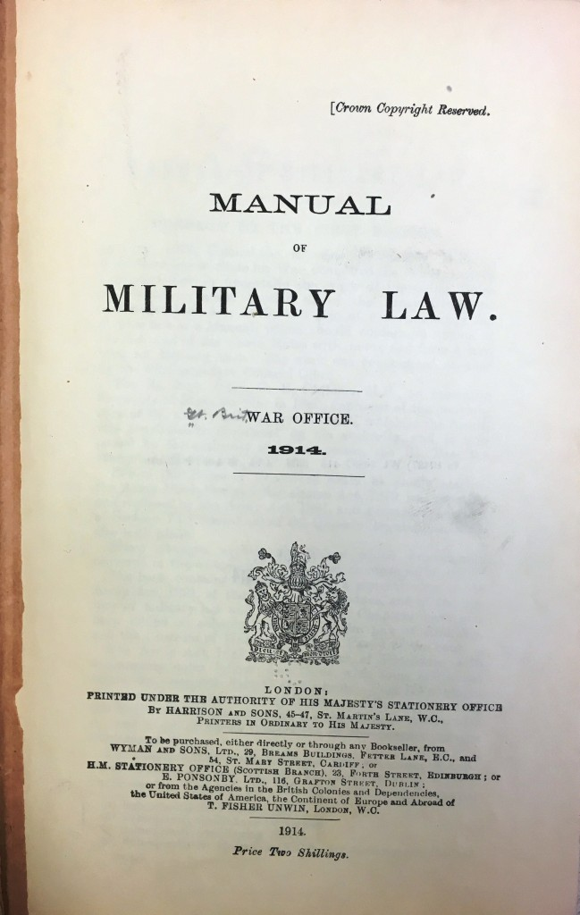 Title page of the Manual of Military Law, Great Britain War Office (1914).