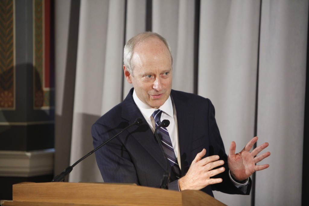 Michael Sandel, Anne T. and Robert M. Bass Professor of Government at Harvard University, delivers the 2015 Kellogg biennial lecture on jurisprudence, October 29, 2015. Photo by Shawn Miller.