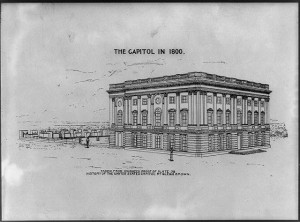 The Capitol in 1800 taken from advanced proof of plate 38 History of the United States Capitol by Glenn Brown Prints & Photographs Division, Library of Congress, //www.loc.gov/item/2014649261