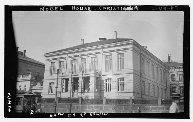 "The title of this picture is listed at ""Nobel House, Christiania. [Sweden]"" and was published by the Bain News Service. (Library of Congress Prints and Photographs Division, //hdl.loc.gov/loc.pnp/ggbain.27102.) However, it appears to be the Nobel Institute in Oslo (formerly Kristiania), Norway. The Nobel Institute was established in 1904 and assists the Nobel Committee in its task of selecting Nobel Peace Prize winners."