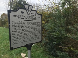 Highway sign of Shadwell, birthplace of Thomas Jefferson. Photo by Fernando O. Gonzalez.