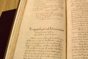 Manuscript reports of the General Court of Virginia, formerly owned by Thomas Jefferson. Photo Credit: Donna Sokol
