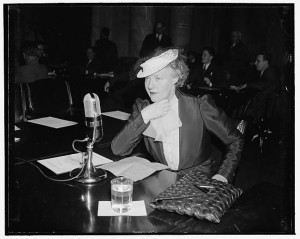 Dorothy Thompson, columnist, sat down before Foreign Affairs Chairman Key Pittman and told him and members that neutrality laws should be repealed to allow the country to be free in forming policies in foreign affairs. Photograph by Harris and Ewing. (1939). Library of Congress Prints and Photographs Division //hdl.loc.gov/loc.pnp/hec.26561
