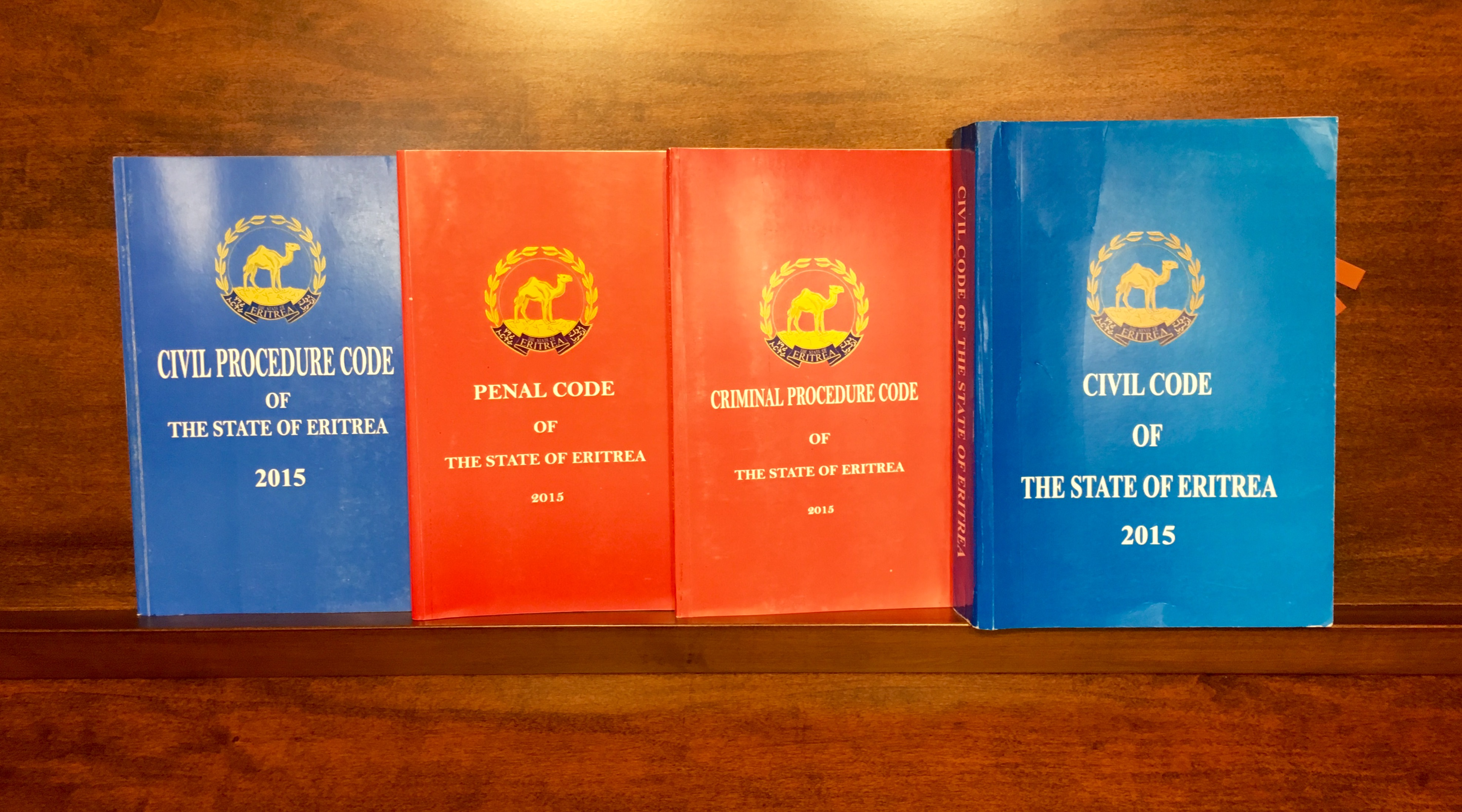 The newly issued Eritrean civil, civil procedure, penal and criminal procedure codes.