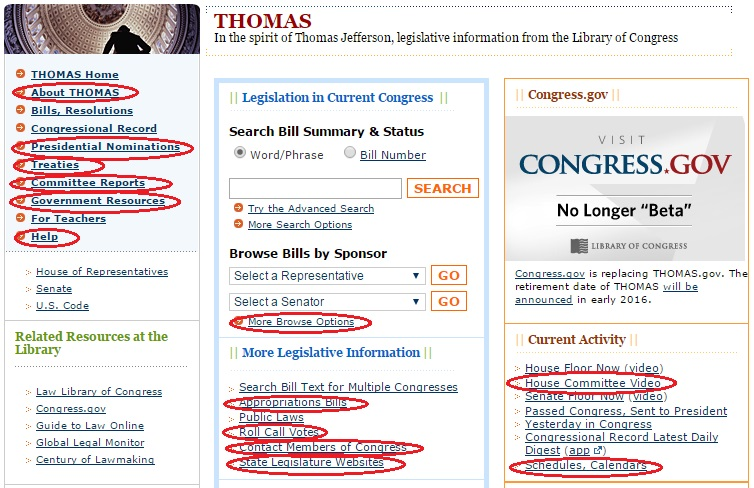 Circled links on the THOMAS homepage now redirect to Congress.gov as part of the effort to retire THOMAS.
