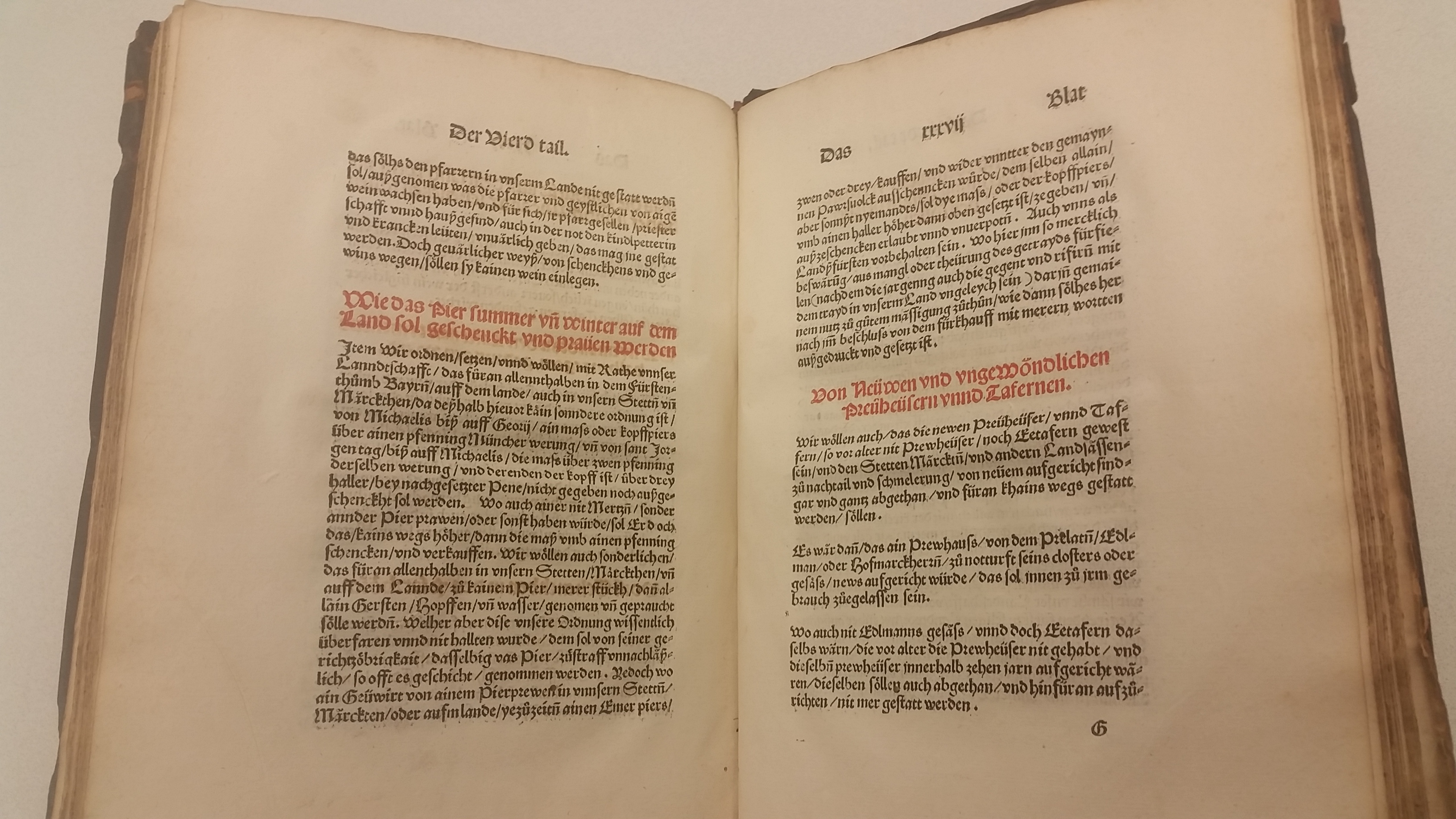 Original text of the Bavarian Reinheitsgebot from 1516. /Photograph by Jenny Gesley //lccn.loc.gov/2009672521