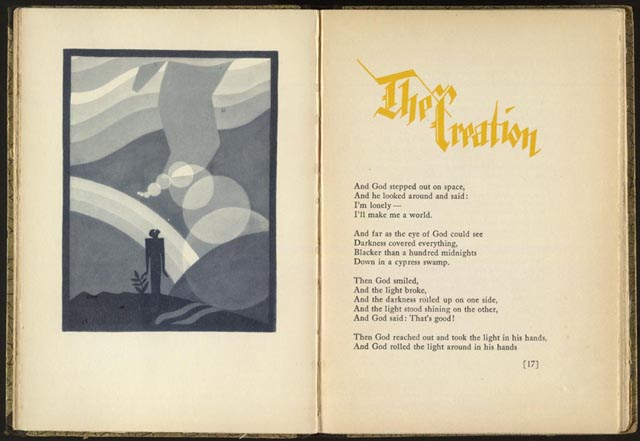 "James Weldon Johnson. ""The Creation,"" from God's Trombones: Seven Negro Sermons in Verse. New York: Viking Press, 1927. Rare Book and Special Collections Division, Library of Congress [//www.loc.gov/exhibits/world/accounts.html]"