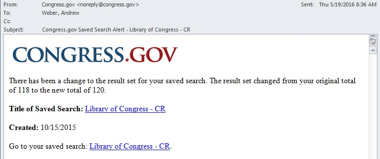 Sample Congress.gov Saved Search Alert Email