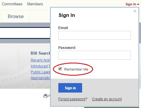 Be sure to check Remember Me to stay signed into your Congress.gov account.