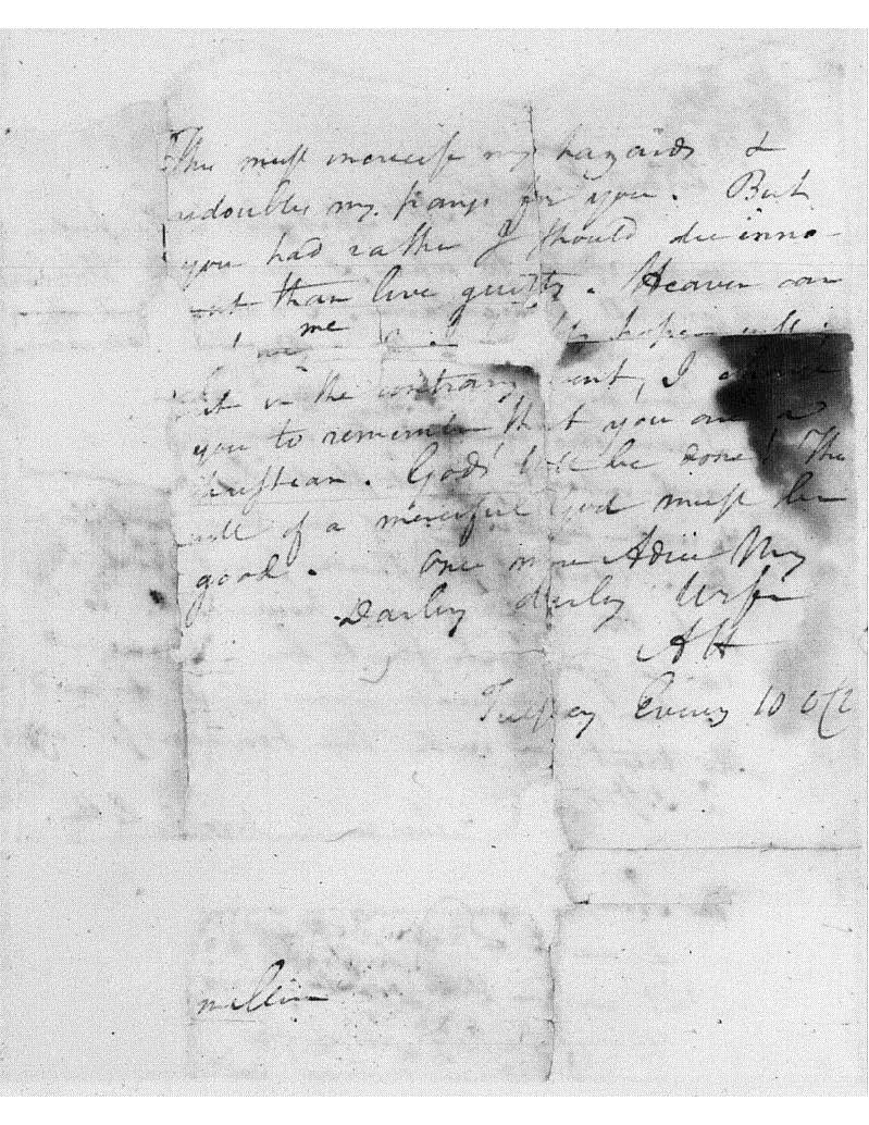 Part two of a letter from Alexander Hamilton to Elizabeth Hamilton, dated July 10, 1804. Courtesy of the Library of Congress Manuscripts Division. Transcript available at http://founders.archives.gov/documents/Hamilton/01-26-02-0001-0262