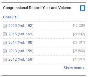 Congressional Record Year and Volume Facet