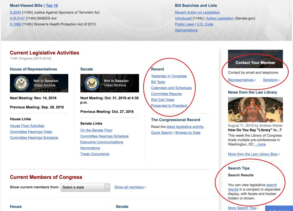 New Congress.gov Homepage with Recent, Contact Your Member, and Search Tips