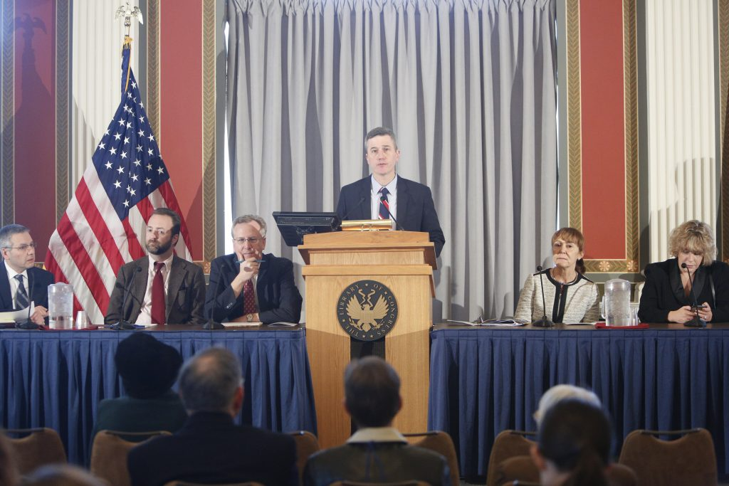 Congressional Research Service Deputy Director T.J. Halstead introduces the panelists for the Law Library's Human Rights Day presentation on the impact of the Miranda Warning on human rights in eastern Europe, December 9, 2016. Photo by Shawn Miller.