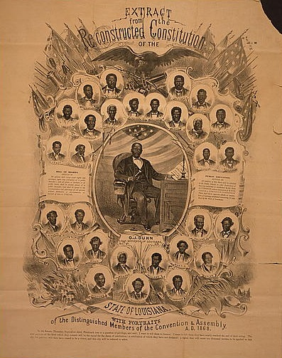 Extract from the reconstructed Constitution of the state of Louisiana, with portraits of the distinguished members of the Convention & Assembly, A.D. 1868. Print of a lithograph. (Published 1868). Library of Congress Prints and Photographs Division //hdl.loc.gov/loc.pnp/cph.3g05947