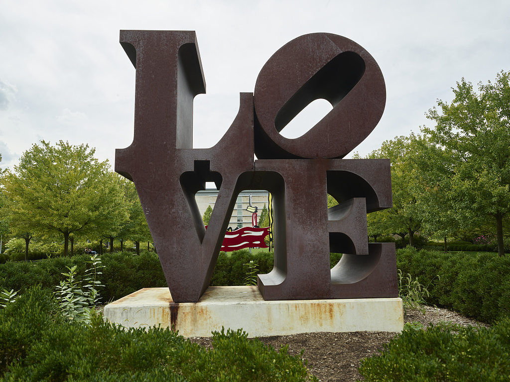 "The often-copied ""LOVE"" artwork by American artist Robert Indiana, at the Indianapolis Museum of Art, in Indiana's capital city. (Carol M. Highsmith, 9/18/2016). Photographs in the Carol M. Highsmith Archive, Library of Congress, Prints and Photographs Division."