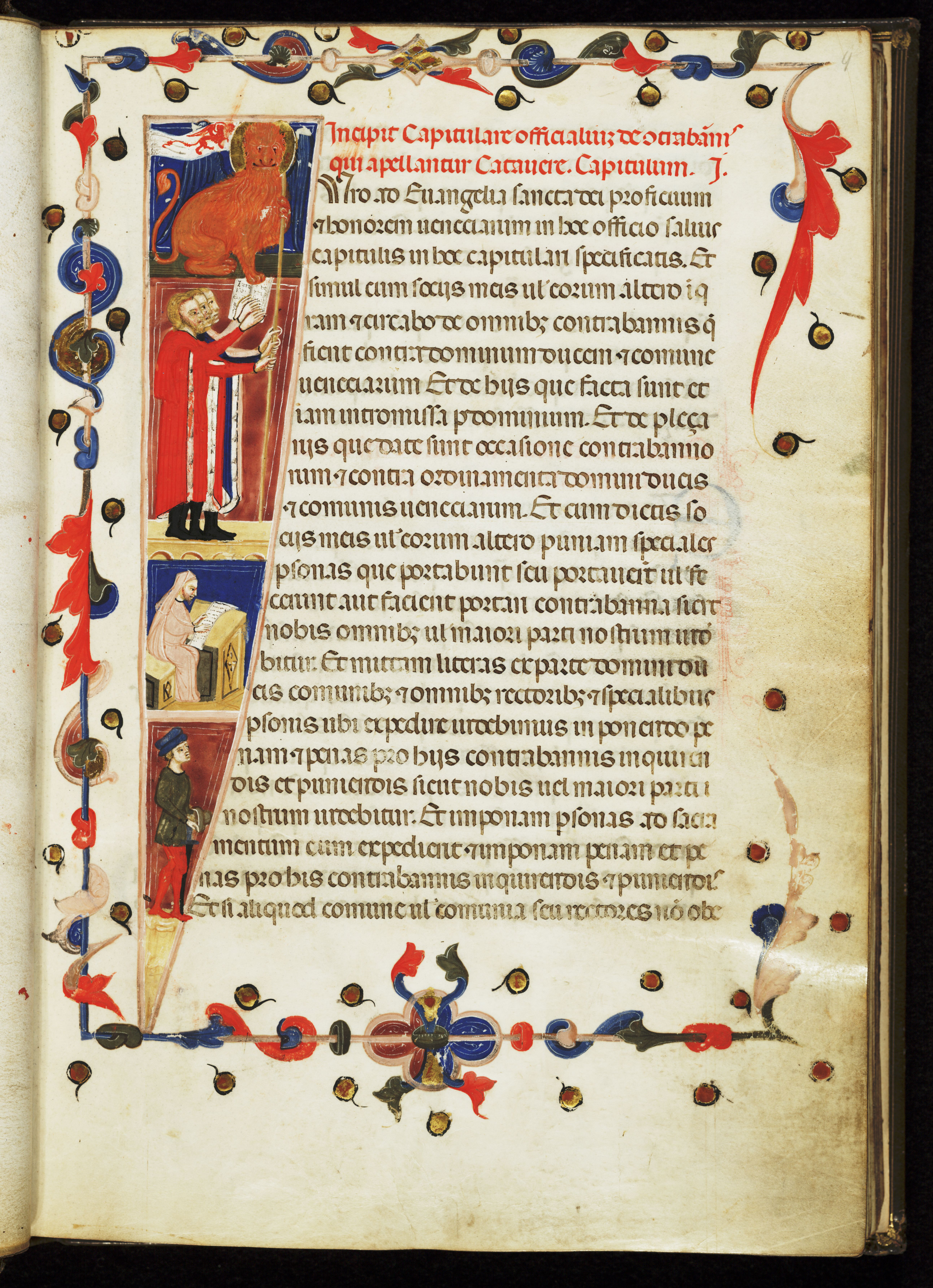 Image of one of the manuscripts that will receive Dr. Dines' attention, [Capitulare officialium Urbis Venetiarum], [Venice, 14th c.]. LCCN; 2004574701