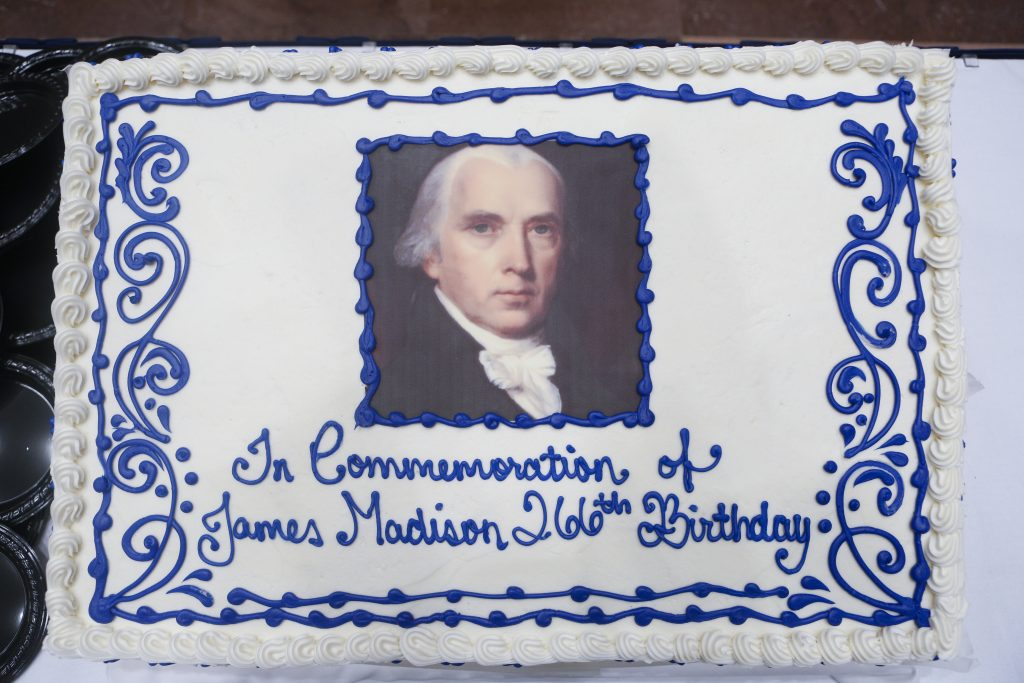 A cake from the Law Library commemorates President James Madison's 266th birthday in Madison Hall, March 16, 2017. Photo by Shawn Miller.