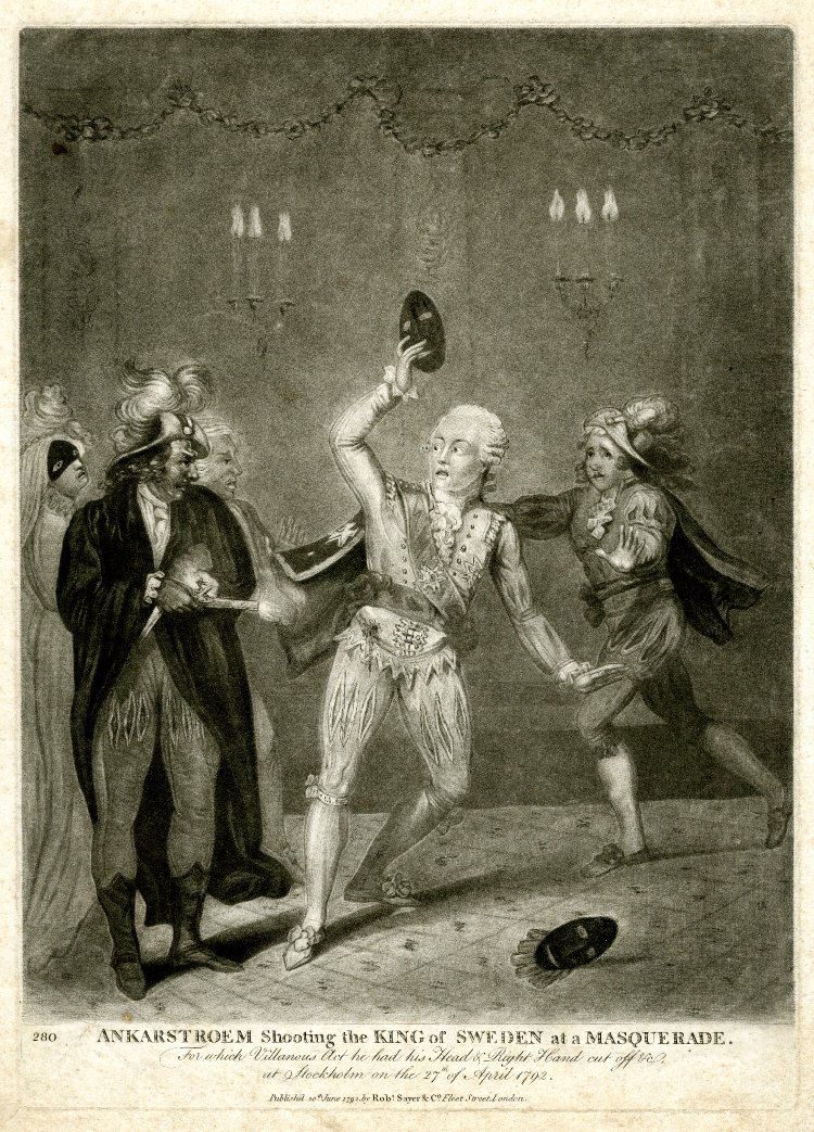 Ankarstroem Shooting the King of Sweden at a Masquerade. Published by Robert Strayer & Co, 1792. British Museum. Used under Creative Commons License 4.0.
