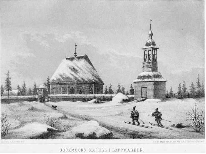 "Jokkmokk Old Church. Church building with clock tower. Litografi from ""Odd Swedish Churches"", 1874, http://kmb.raa.se/cocoon/bild/show-image.html?id=16000200043182, Creative Commons License: Public Domain"