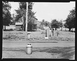 Road intersection with milk can waiting to be picked up by delivery truck. Townsend, New York. 1940 [Prints and Photographs Division]