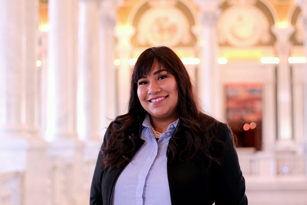 Hazel Ceron, intern with the Law Library's Office of External Affairs.
