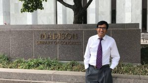 Hijratullah Ekhtyar, intern with the Law Library Global Legal Research directorate, stands in front of the James Madison Memorial Building. (Photo courtesy of Hijratullah Ekhtyar)