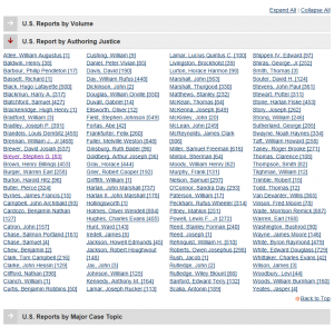 "Screenshot of expanded ""U.S. Reports by Authoring Justice"" category on //www.loc.gov/law/help/us-reports.php"