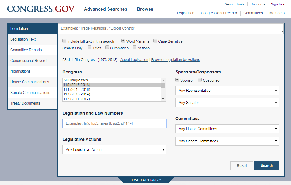 Search forms on Congress.gov.