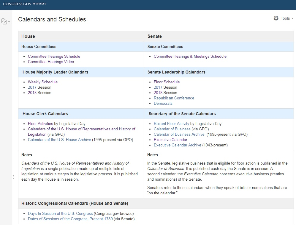 Image of the Calendars and Schedules page on Congress.gov
